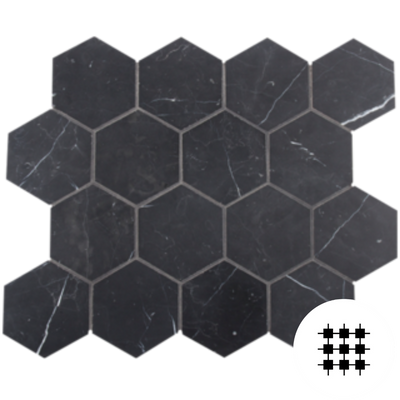 NERO MARQUINA HONED HEX 70MM - INDENT