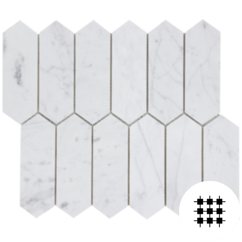 CARRARA HONED PICKET MOSAIC