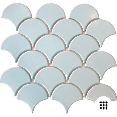 BLUE MOON GLAZED PORCELAIN FAN MOSAIC