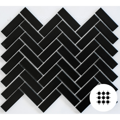 MATT BLACK HERRINGBONE PORCELAIN MOSAIC
