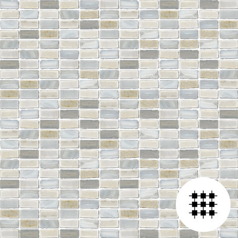 BOHEME WHITE GLASS & SLATE MOSAIC