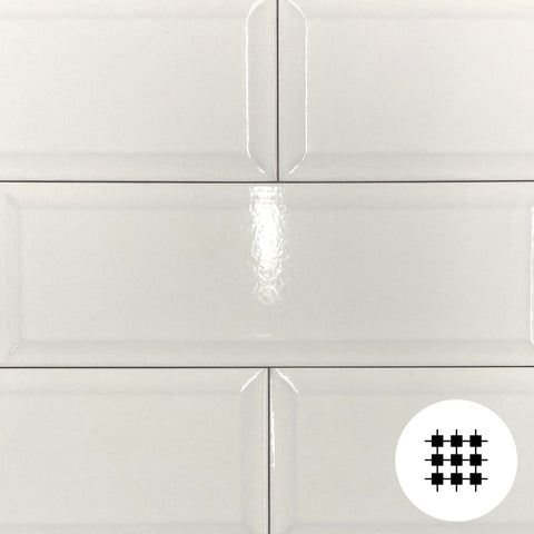 HAPPY GLOSS WHITE BEVELLED CRAQUELLE 300X100X10MM