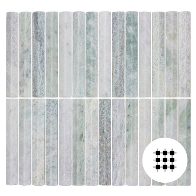 MINT GREEN MARBLE 3D BATONS MOSAICS 306X292MM