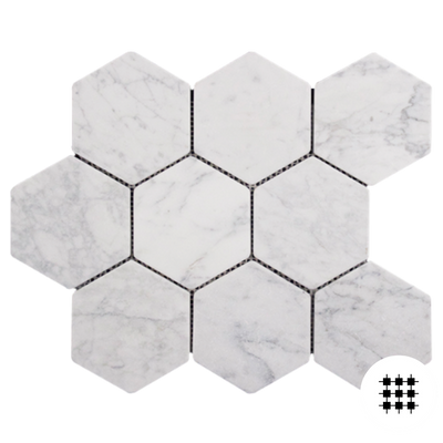 CARRARA TUMBLED 98MM HEXAGON