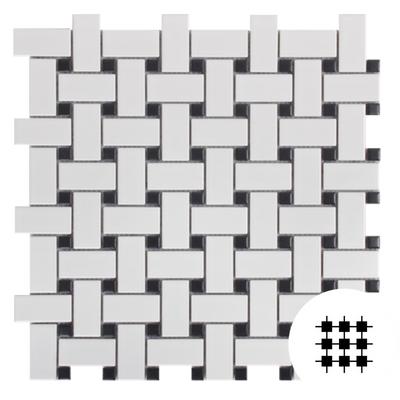 BASKETWEAVE, BLACK AND WHITE MATT GLAZED PORCELAIN