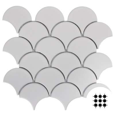 WHITE MATT PORCELAIN FAN MOSAIC