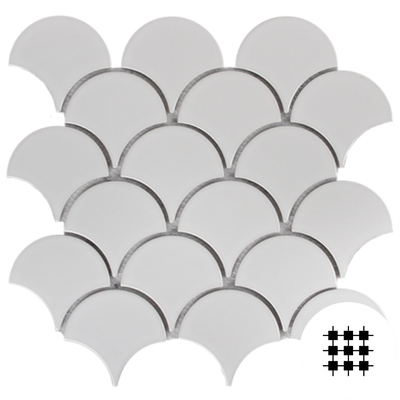 WHITE GLOSS PORCELAIN FAN MOSAIC
