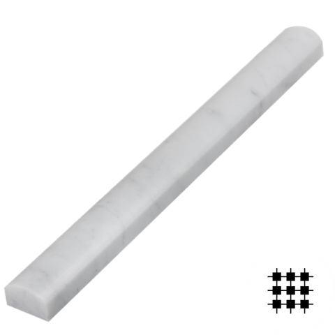 CARRARA GIOIA VENATO, HONED PENCIL BORDER 305x30x20MM
