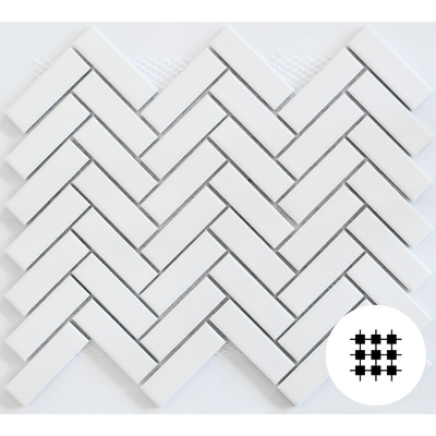 GLOSS WHITE HERRINGBONE PORCELAIN MOSAIC