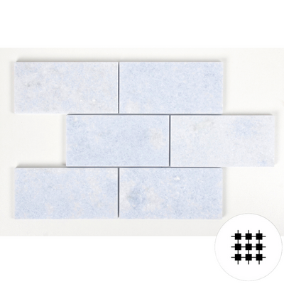 SKY BLUE MARBLE HONED SUBWAY 150X75X10MM - INDENT