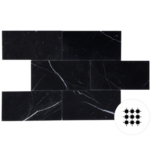 NERO MARQUINA HONED SUBWAY TILE, 150x75x10mm