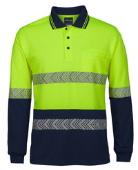 HI VIS L/S SEGMENTED TAPE POLO  6HLST