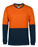 HI VIS L/S CREW NECK COTTON T-SHIRT  6HVTN