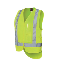 HI VIS ZIP DROP TAIL H PATTERN (D+N) VEST  6DNDV