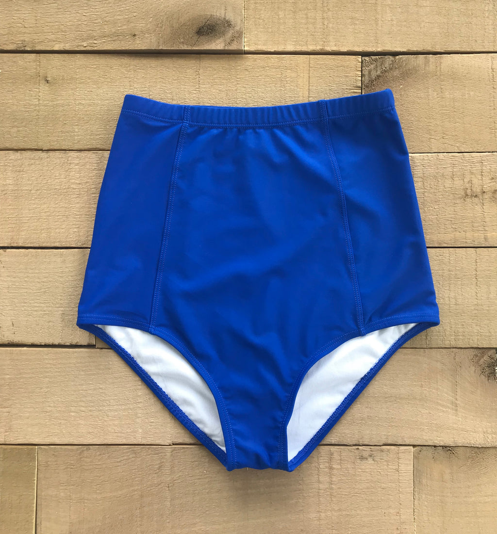 royal blue high waisted swim bottoms