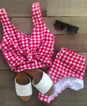 abby gingham swim top