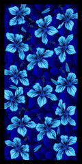 Hibiscus Flowers Blue Velour Beach Towel