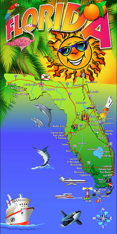 Florida Sunshine Map Velour Beach Towel 30 x 60 Inch #036A