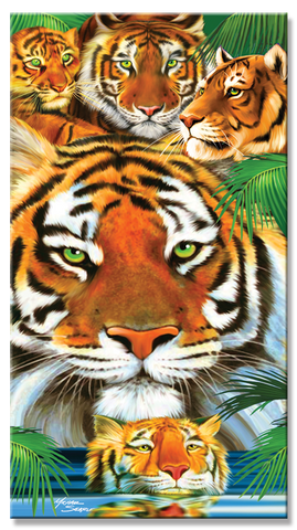24 Tiger & Cub Velour Towel 30 x 60 Inch Towels #BT6721