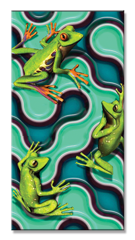 24 Three Frogs on Water Velour Towel 30 x 60 Inch Towels #BT6738
