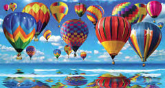 Hot Air Balloons Over the Ocean Beach Towel