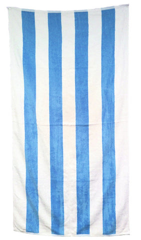 24 Cabana Stripe Terry Velour Beach Towels 30 x 62 Inch