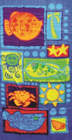 24 Fish, Palm, Star, Crab Velour Beach Towels 30 x 60 Inch #BT6145