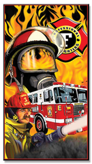 Firemans's Face with Mask Beach Towel