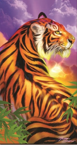 24 Tiger with Sky Velour Beach Towels 30 x 60 Inch #BT6803