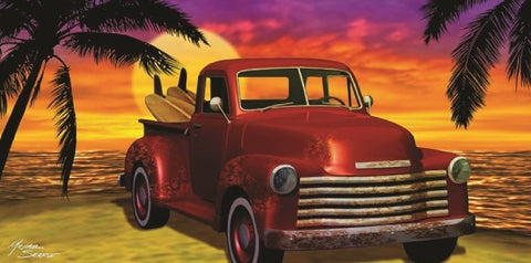 24 Pickup Truck with Surfboard at Sunset Velour Beach Towels 30 x 60 Inch #BT6827