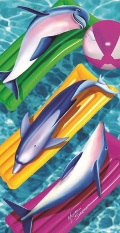 24 Dolphins on Pool Mattress Velour Beach Towels 30 x 60 Inch #BT6835