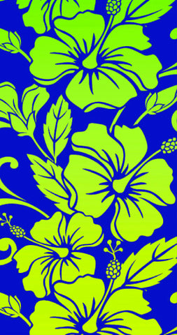 24 Blue, Neon Yellow Hibiscus Flower Velour Beach Towels 30 x 60 Inch #BT6836