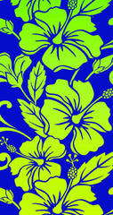 Blue, Neon Yellow Hibiscus Flower Beach Towel