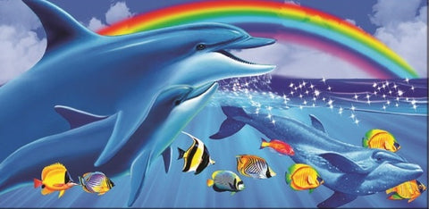 24 Dolphin Rainbow Velour Beach Towels 30 x 60 Inch #BT6845
