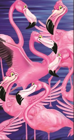 24 Comical Flamingo Collage Velour Beach Towels 30 x 60 Inch #BT6847