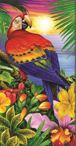 24 Parrot Perched on Hibiscus Velour Beach Towels 30 x 60 Inch #BT6851