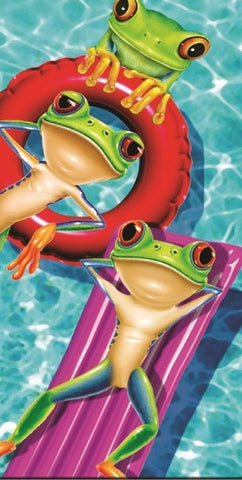 24 Frogs on Inflatables Velour Beach Towels 30 x 60 Inch #BT6857
