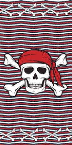 24 Pirate Logo with Red, White & Blue Velour Beach Towel 30 x 60 Inch #BT6874