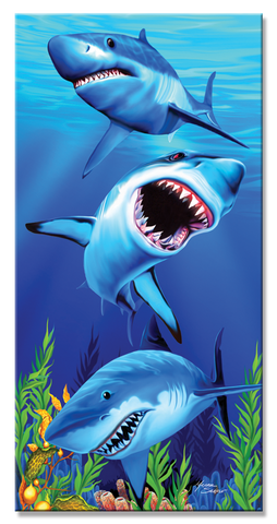 12 Sharks Under Water Scene Velour Beach Towels 40 x 70 Inch #BT7040