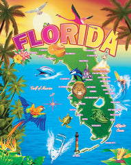 Florida Map Beach Blanket