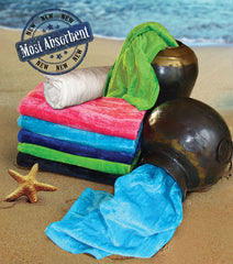 24 Silky Velour Beach Towels 32 x 64 Inch