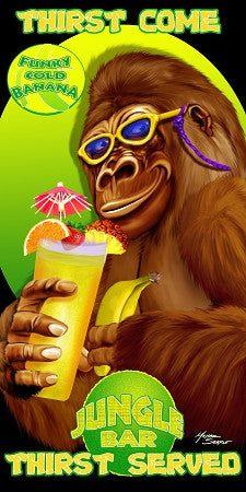 24 Gorilla with Drink Beach Towel 30 x 60 Inch #BT6769
