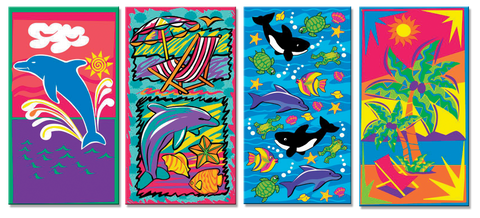 48 Promotional Beach Towels with  4 Assorted Designs 27 x 55 Inch #BT005
