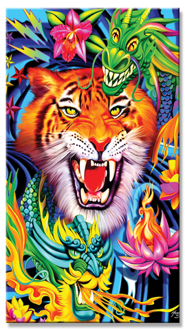 24 Tiger and Dragons Beach Towel 30 x 60 Inch #BT6726