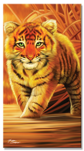 24 Tiger Cub on Grasslands Beach Towel 30 x 60 Inch #BT6722