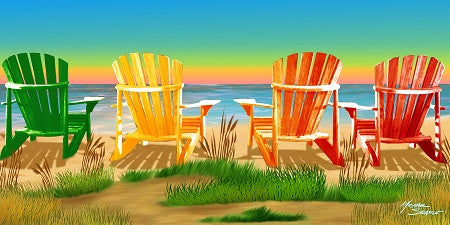 24 Adirondack Beach Chairs at Sunset 30 x 60 Inch Towels #BT6805