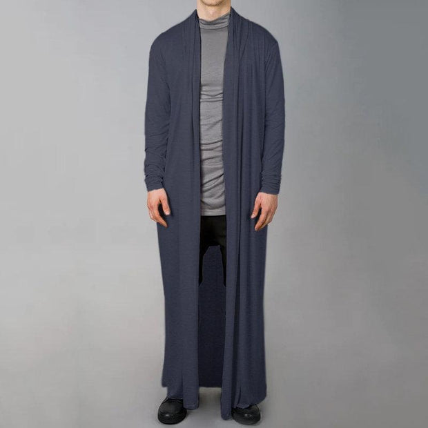 Comfortable and simple long men's cardigan