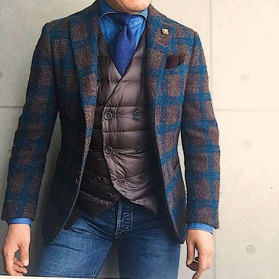 Fashion British Wool Plaid Blazer Jacket