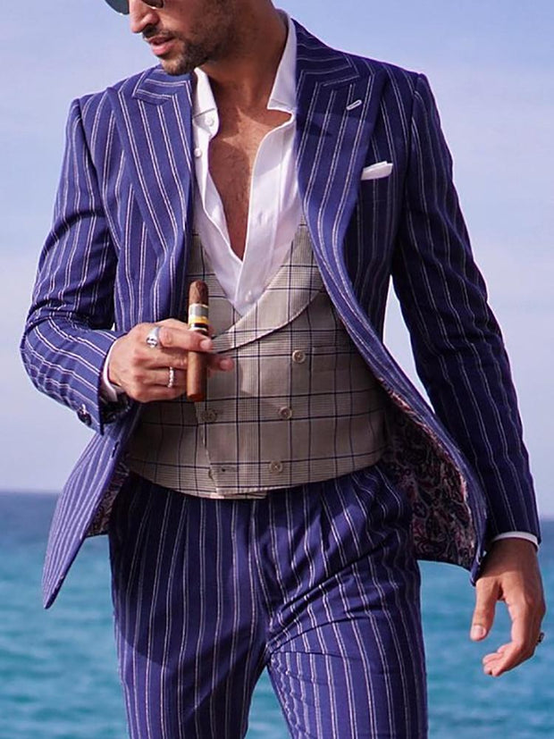 Fashion Personality Vertical Stripes Mens Suit Jacket
