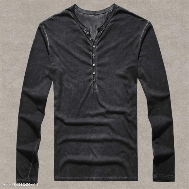 European Size Mens Henley Shirt 100% Cotton